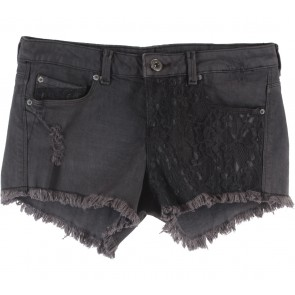 Bershka Dark Grey Denim Combi Lace Ripped Pants