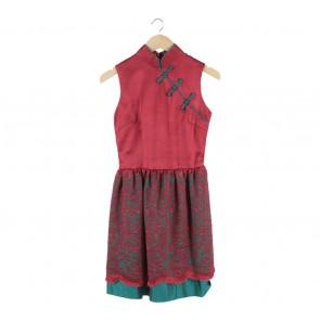Sissae Red And Green Cheongsam Mini Dress