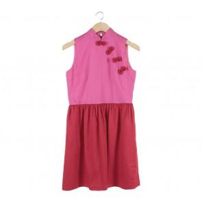 Sissae Red And Pink Cheongsam Mini Dress