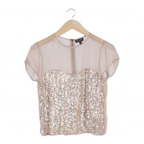 Topshop Cream Sequins Blouse