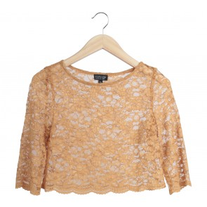 Topshop Yellow Lace Cropped Blouse