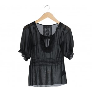 Guess Black Lace Insert Blouse