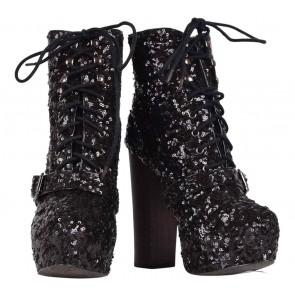 Steve Madden Black Sequins Boots