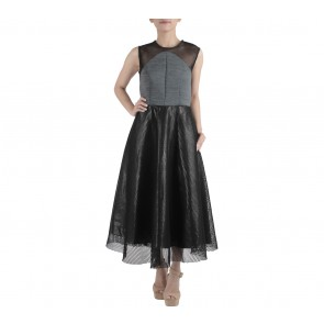 Ernesto Abram Black And Grey See Thru Midi Dress