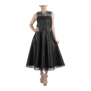 Ernesto Abram Black Back See Thru Midi Dress