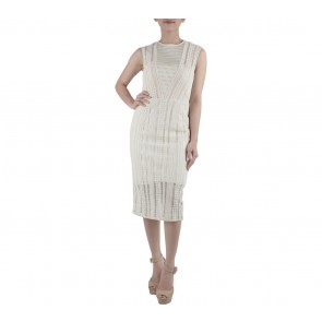 Ernesto Abram Cream Sheer Insert Midi Dress