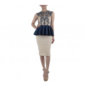 Ernesto Abram Dark Blue And Cream Peplum Midi Dress