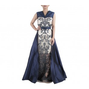 Ernesto Abram Dark Blue And Cream with Apron Skirt Long Dress