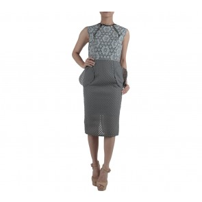 Ernesto Abram Dark Blue And Grey Pocket Midi Dress