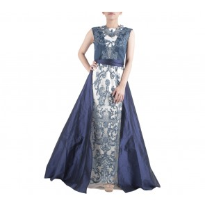 Ernesto Abram Dark Blue And Off White with Apron Skirt Long Dress