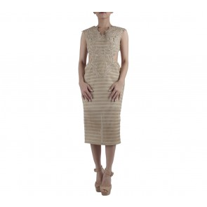 Ernesto Abram Gold Cut Out Midi Dress