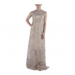 Ernesto Abram Light Brown Sheer Long Dress