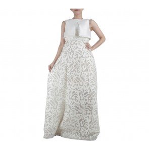 Ernesto Abram Off White Net Beaded Long Dress