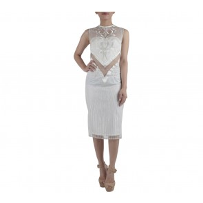 Ernesto Abram Off White See Thru Midi Dress