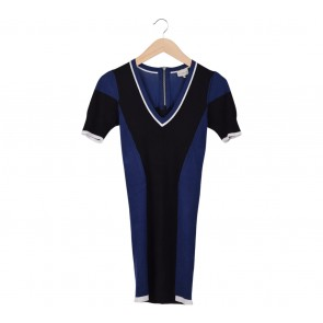 Karen Millen Blue And Black Knitted Mini Dress
