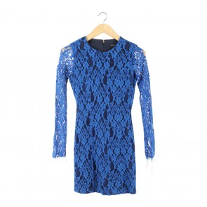 Mango Blue Lace Mini Dress