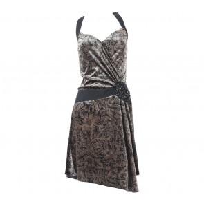Mango Brown And Black Halter Neck Mini Dress