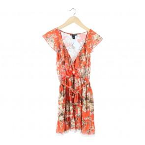 Mango Orange Floral Mini Dress