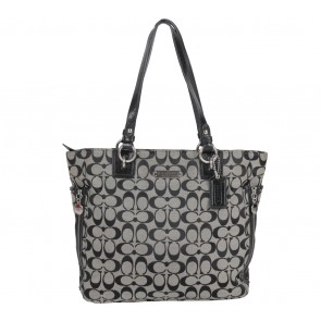 Coach Black Gallery Signature Zipper Tote Bag