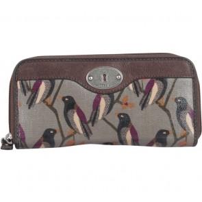 Fossil Green Key Per Bird Print Zipper with Leather Trim Wallet