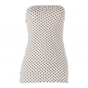 Divided Cream And Black Polka Dot Tube Sleeveless