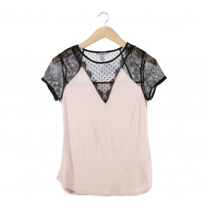 H&M Black And Pink Lace T-Shirt