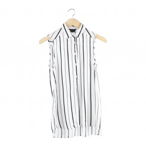 New Look Black And Off White Striped Sleeveless