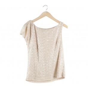Zara Cream Sequins Blouse