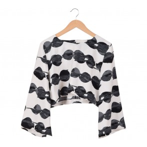 Maryalle White and Black Cape Blouse