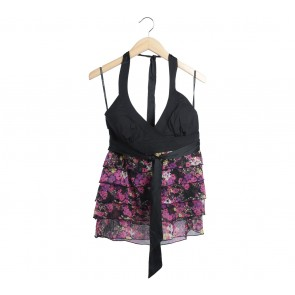 Bebe Black Floral Sleeveless