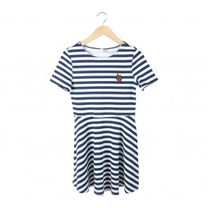 Divided Blue And White Striped Mini Dress