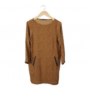 Zara Brown Polka Dot Mini Dress