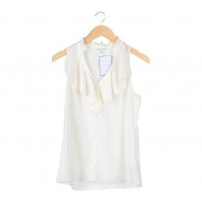 Banana Republic Off White Ruffled Sleeveless