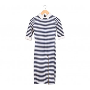 Bijou White and Blue Striped Midi Dress