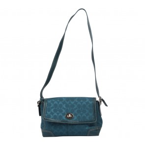 Coach Blue Hampton Signature Flap Shoulder Bag
