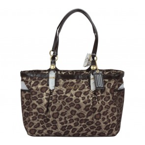 Coach Gold And Brown Leopard Ocelot Handbag