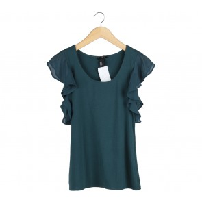 H&M Dark Green Wings Blouse