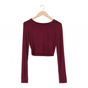Stradivarius Red Long Sleeve T-Shirt