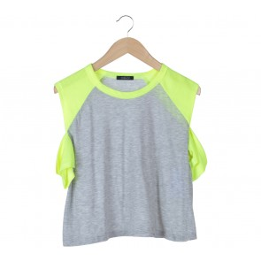 Topshop Grey And Yellow T-Shirt
