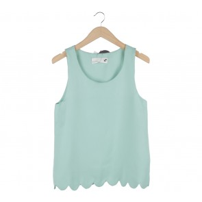 Argyle Oxford Light Green Scallop Sleeveless