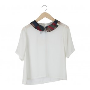 Argyle Oxford Off White Forest Collar Sheer Blouse