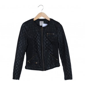 Zara Black Quilted Leather Jacket
