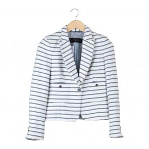 Zara White Striped Blazer