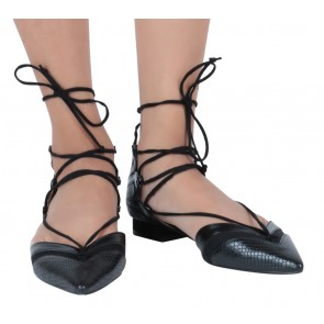 Zara Black Lace Up Flats