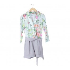 Ted Baker Green And Grey Floral Jumpsuit