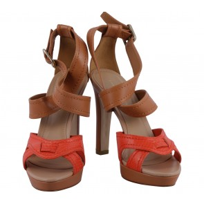 Charles and Keith Brown And Orange Ankle Strap Heels