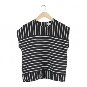 Cotton Ink Black And White Striped Blouse