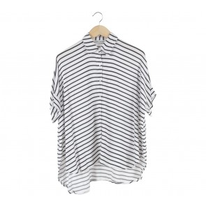 Cotton Ink White And Black Striped Shirt