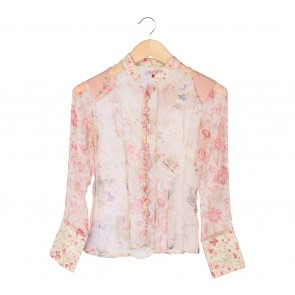 (X)SML Cream And Pink Floral Sheer Shirt