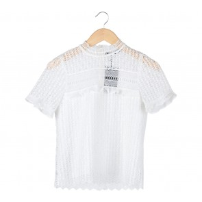 Zara Off White Sheer Insert Blouse